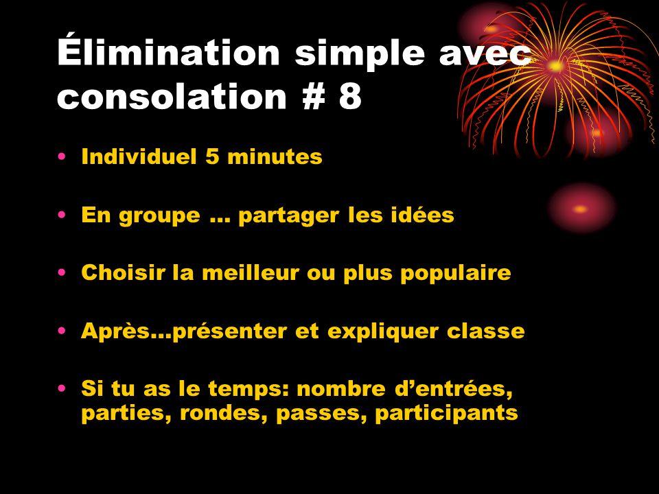 Élimination simple avec consolation # 8