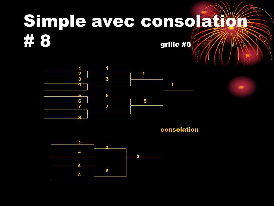 Simple avec consolation # 8 grille #8
