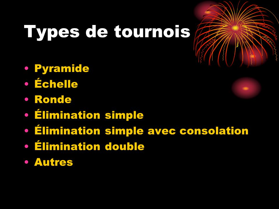 Types de tournois Pyramide Échelle Ronde Élimination simple