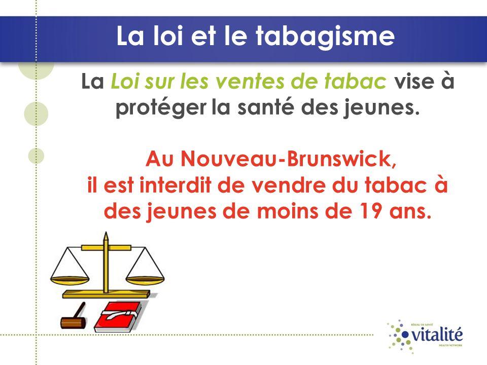 La loi et le tabagisme La Loi sur les ventes de tabac vise à protéger la santé des jeunes. Au Nouveau-Brunswick,