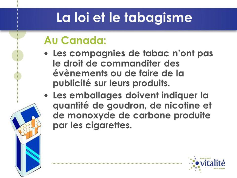 La loi et le tabagisme Au Canada: