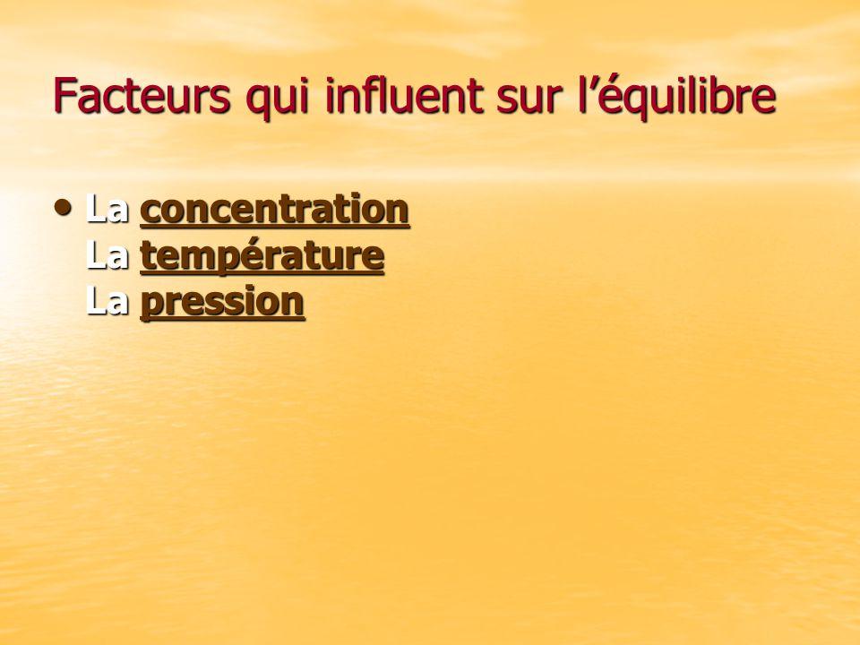 Facteurs qui influent sur l'équilibre