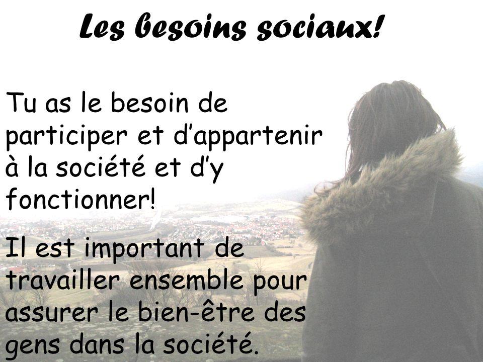 Les besoins sociaux! Tu as le besoin de participer et d'appartenir à la société et d'y fonctionner!