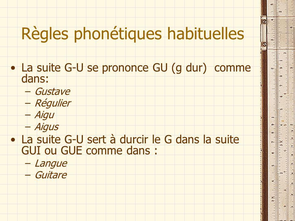 Règles phonétiques habituelles