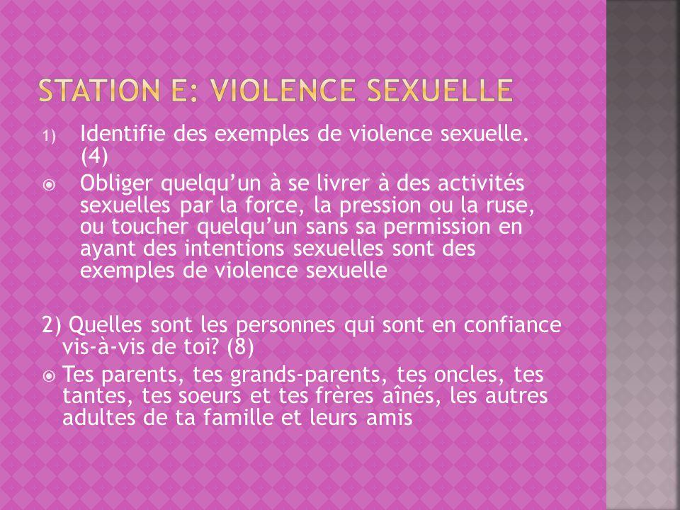Station e: Violence sexuelle