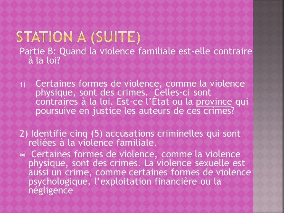 Station A (suite) Partie B: Quand la violence familiale est-elle contraire à la loi