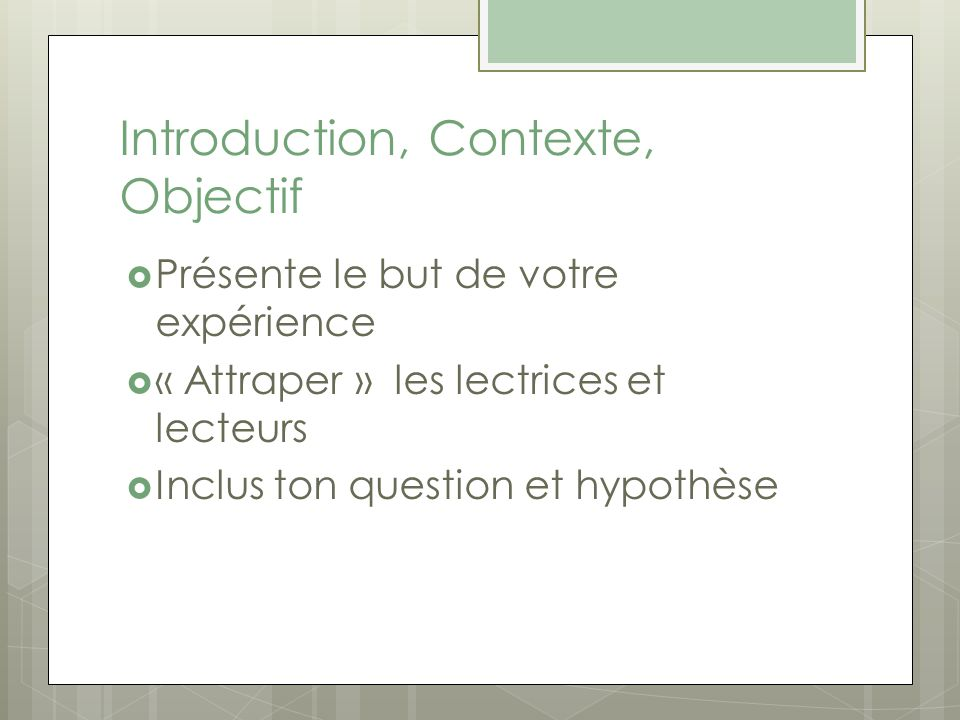 Introduction, Contexte, Objectif