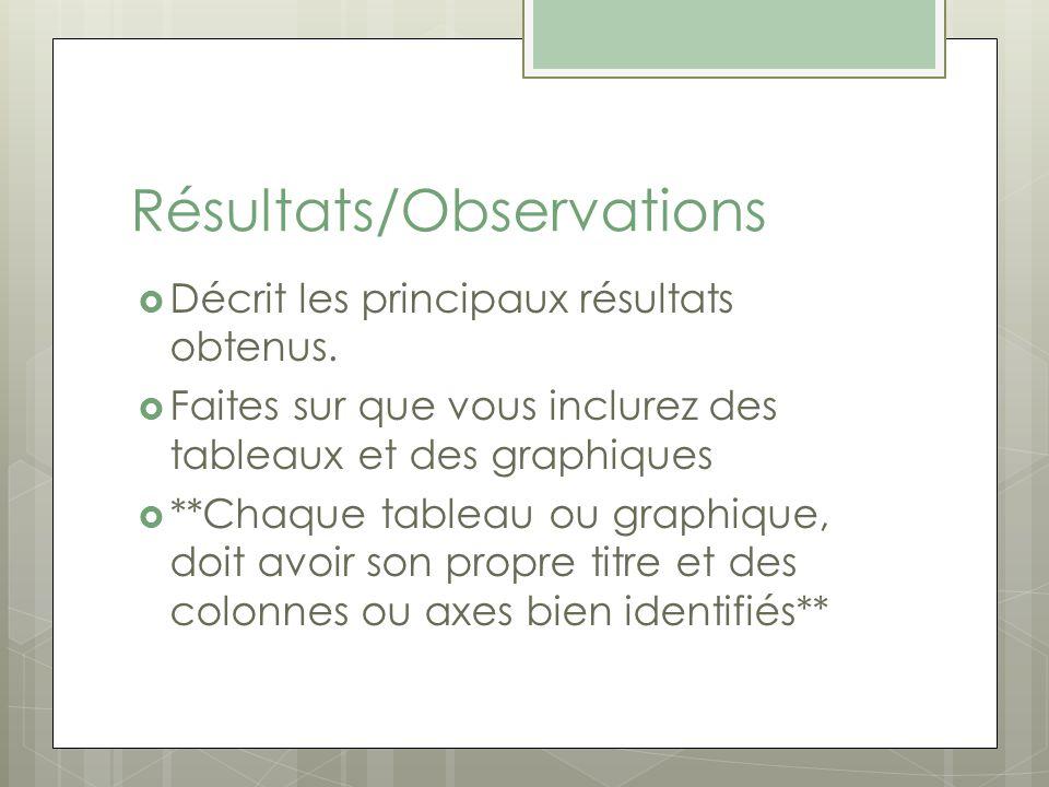 Résultats/Observations