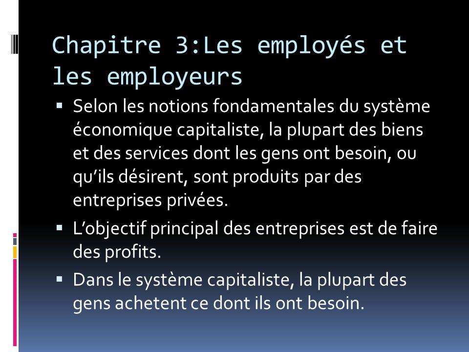 Chapitre 3:Les employés et les employeurs
