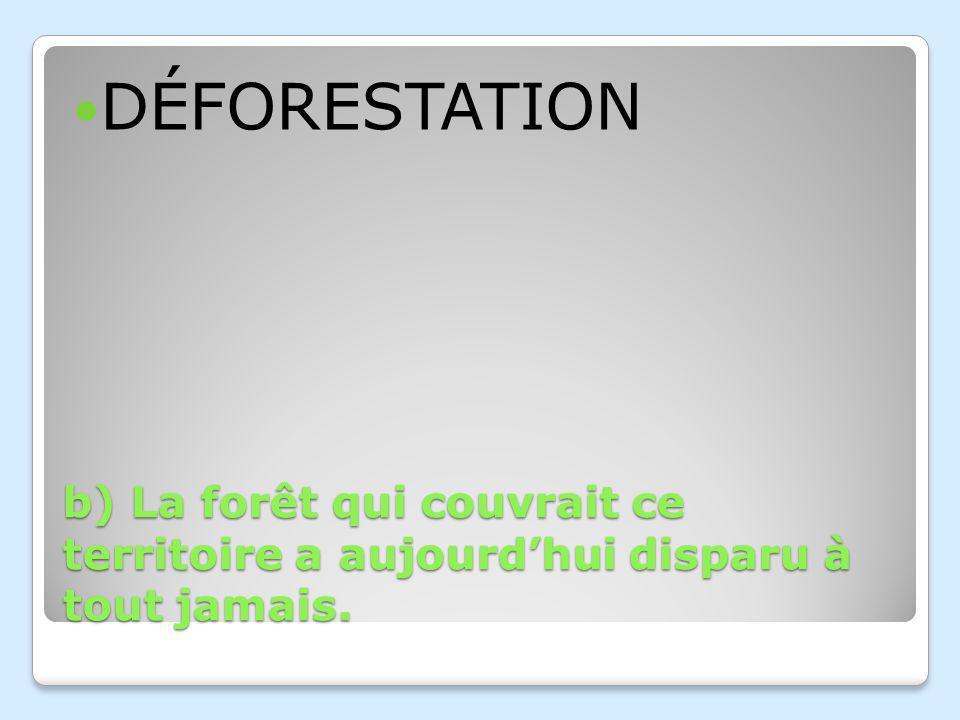 DÉFORESTATION b) La forêt qui couvrait ce territoire a aujourd'hui disparu à tout jamais.