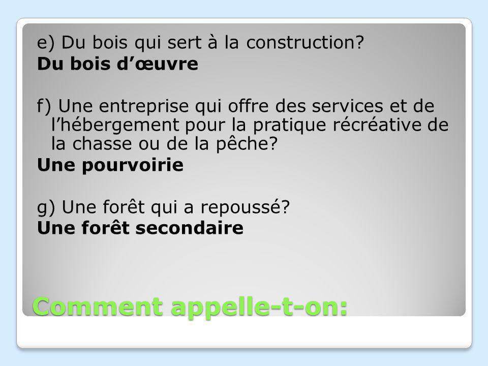 Comment appelle-t-on: