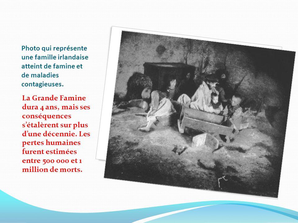 Photo qui représente une famille irlandaise atteint de famine et de maladies contagieuses.
