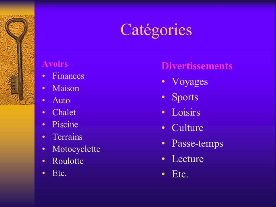 Catégories Divertissements Voyages Sports Loisirs Culture Passe-temps