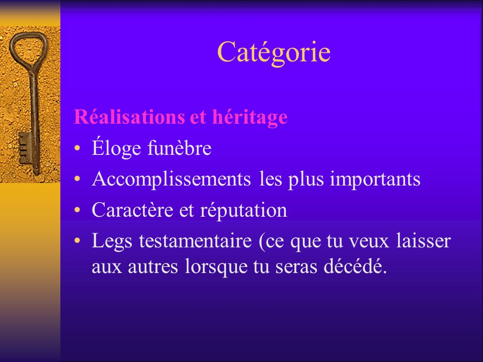 Catégorie Réalisations et héritage Éloge funèbre