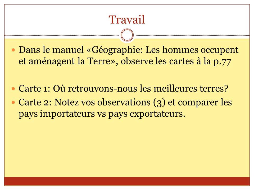Travail Dans le manuel «Géographie: Les hommes occupent et aménagent la Terre», observe les cartes à la p.77.