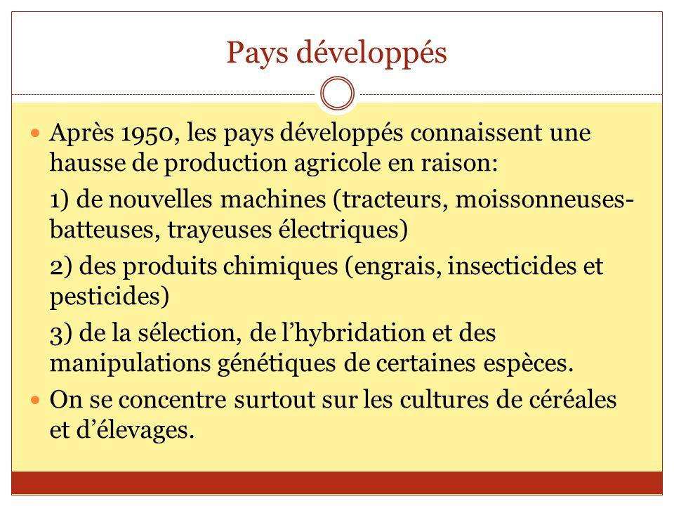 Pays développés Après 1950, les pays développés connaissent une hausse de production agricole en raison: