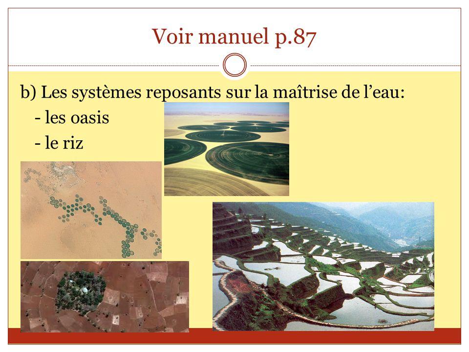 Voir manuel p.87 b) Les systèmes reposants sur la maîtrise de l'eau: - les oasis - le riz