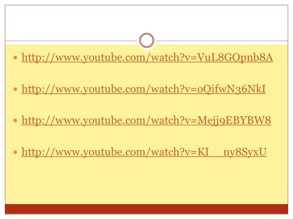 http://www.youtube.com/watch v=VuL8GOpnb8A http://www.youtube.com/watch v=oQifwN36NkI. http://www.youtube.com/watch v=Mejj9EBYBW8.