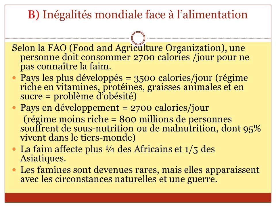 B) Inégalités mondiale face à l'alimentation