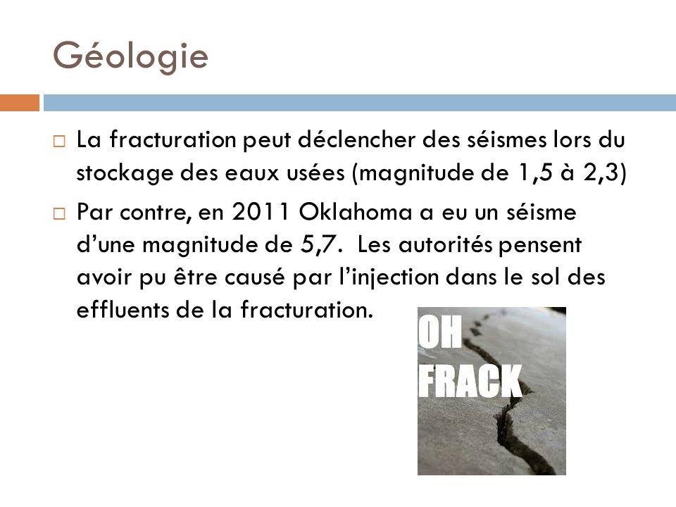 Géologie La fracturation peut déclencher des séismes lors du stockage des eaux usées (magnitude de 1,5 à 2,3)