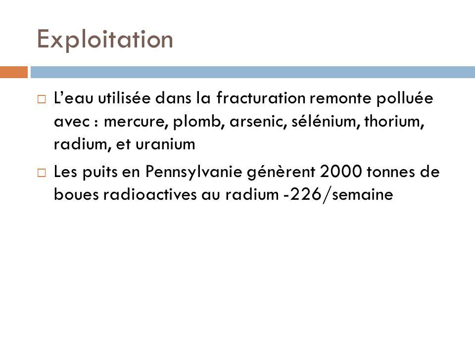 Exploitation L'eau utilisée dans la fracturation remonte polluée avec : mercure, plomb, arsenic, sélénium, thorium, radium, et uranium.