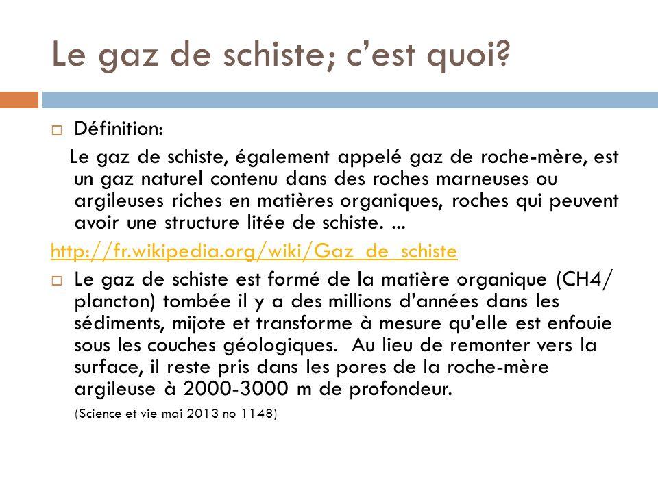 Le gaz de schiste; c'est quoi