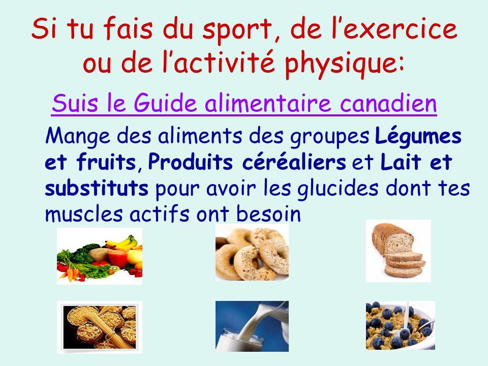 Si tu fais du sport, de l'exercice ou de l'activité physique: