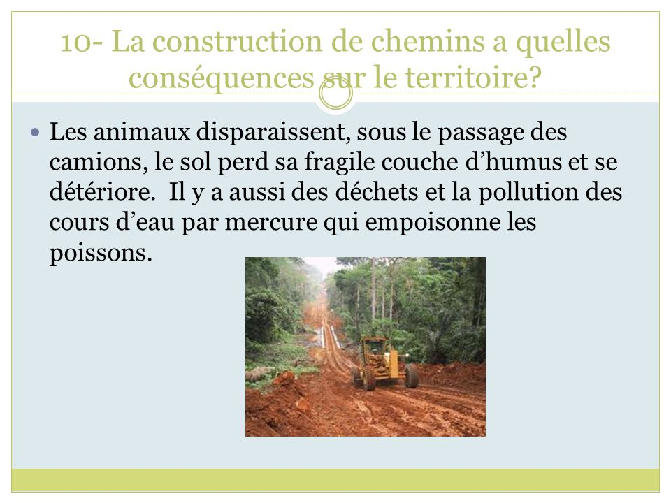 10- La construction de chemins a quelles conséquences sur le territoire