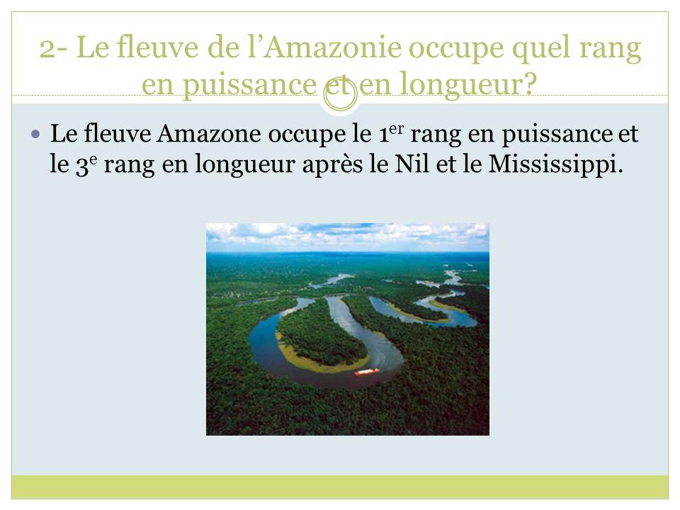 2- Le fleuve de l'Amazonie occupe quel rang en puissance et en longueur