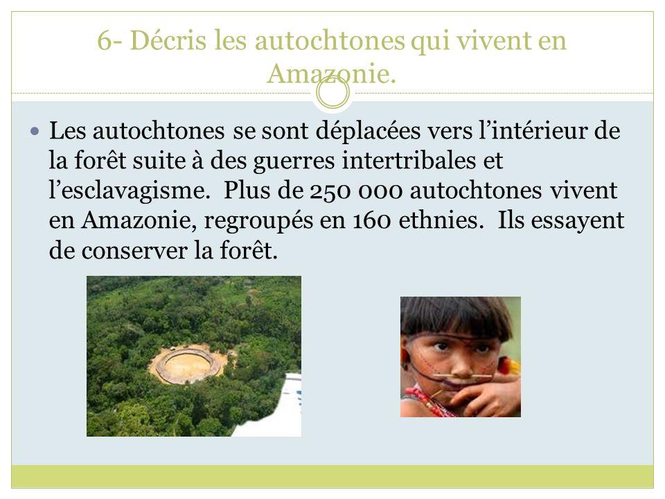 6- Décris les autochtones qui vivent en Amazonie.