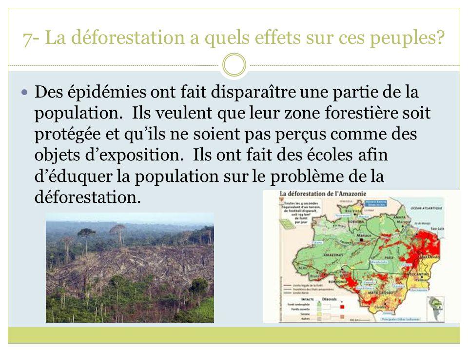 7- La déforestation a quels effets sur ces peuples