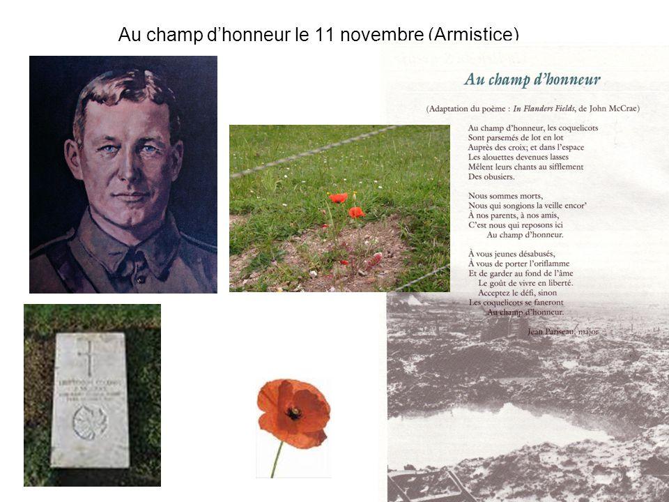 Au champ d'honneur le 11 novembre (Armistice)