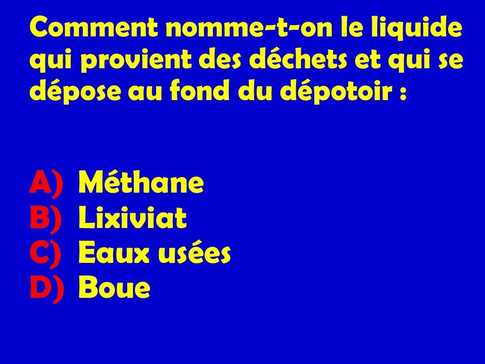 Comment nomme-t-on le liquide qui provient des déchets et qui se dépose au fond du dépotoir :
