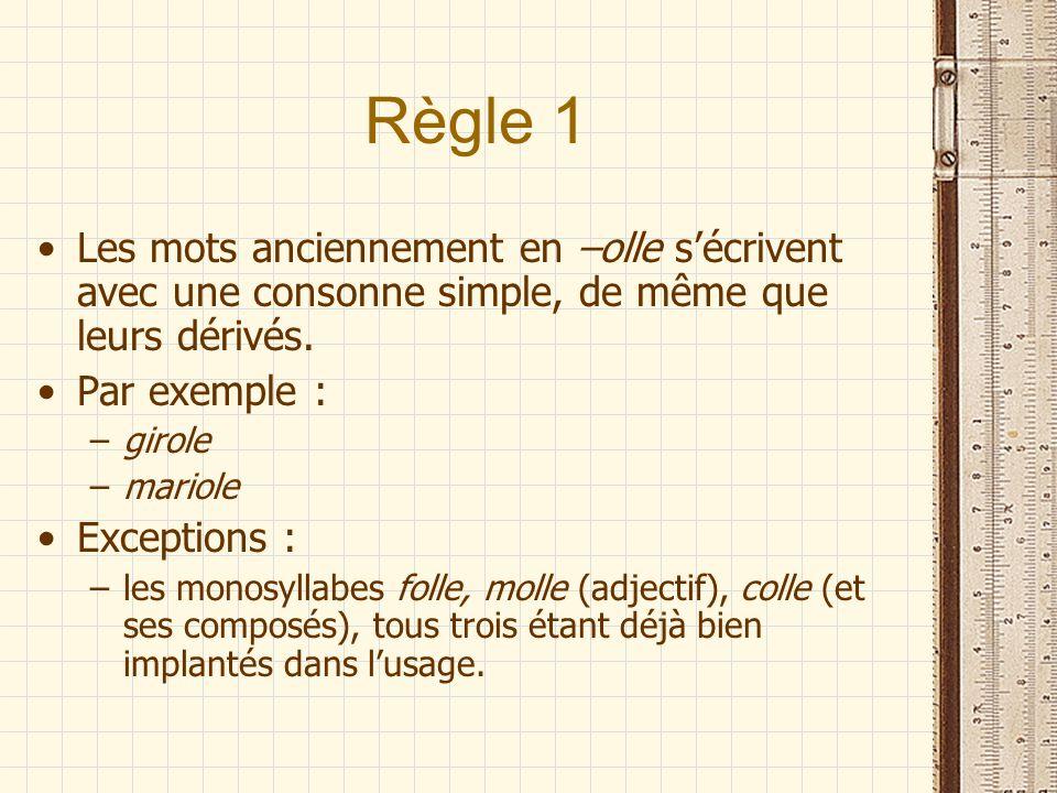 Règle 1 Les mots anciennement en –olle s'écrivent avec une consonne simple, de même que leurs dérivés.