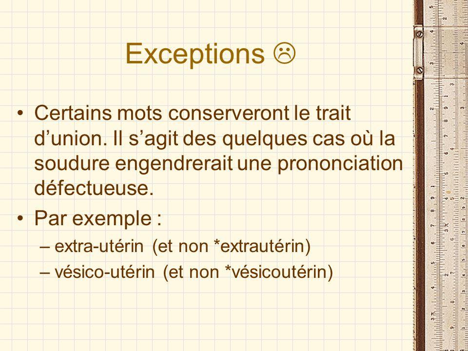 Exceptions  Certains mots conserveront le trait d'union. Il s'agit des quelques cas où la soudure engendrerait une prononciation défectueuse.