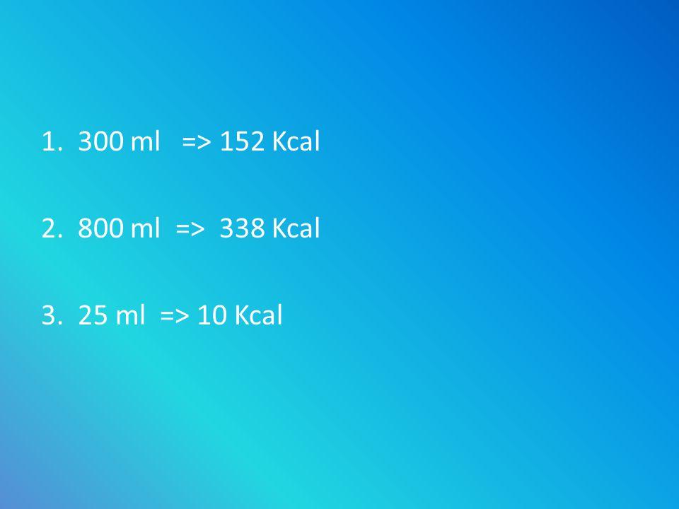 1. 300 ml => 152 Kcal 2. 800 ml => 338 Kcal 3