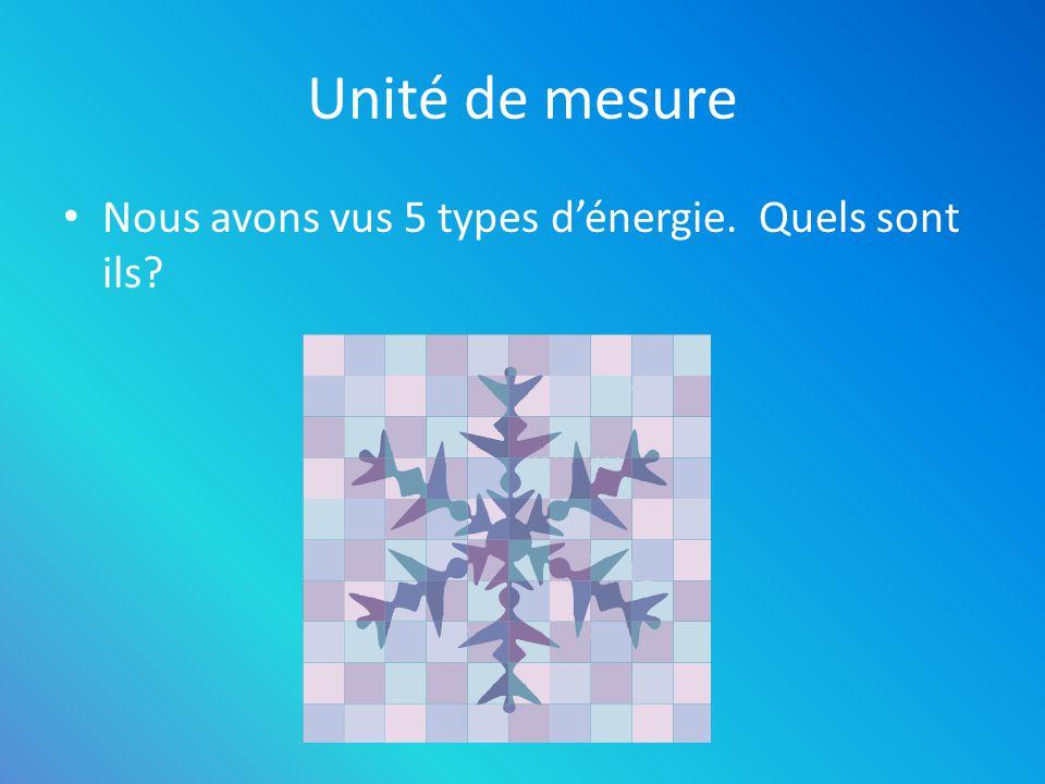 Unité de mesure Nous avons vus 5 types d'énergie. Quels sont ils