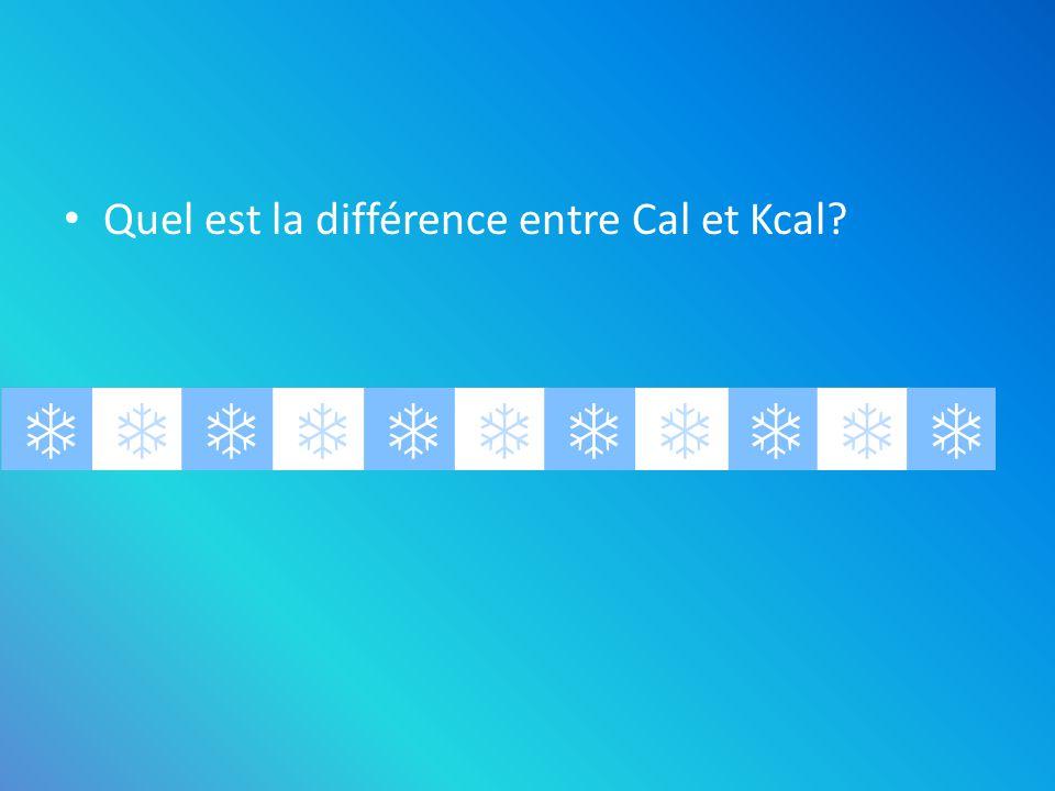 Quel est la différence entre Cal et Kcal