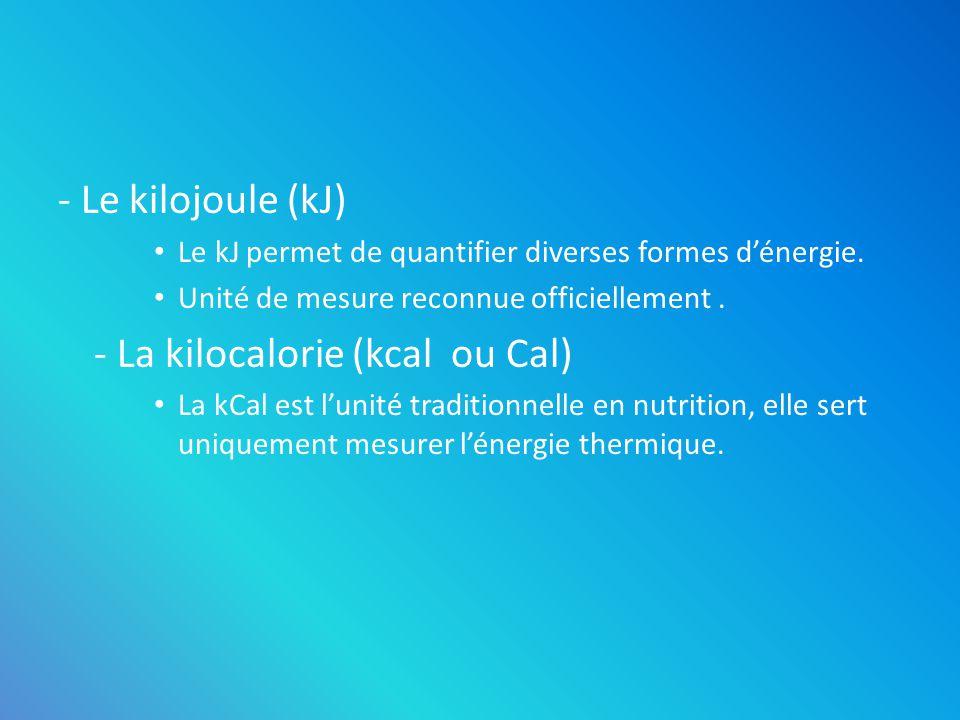 - La kilocalorie (kcal ou Cal)