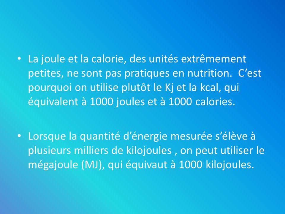La joule et la calorie, des unités extrêmement petites, ne sont pas pratiques en nutrition. C'est pourquoi on utilise plutôt le Kj et la kcal, qui équivalent à 1000 joules et à 1000 calories.