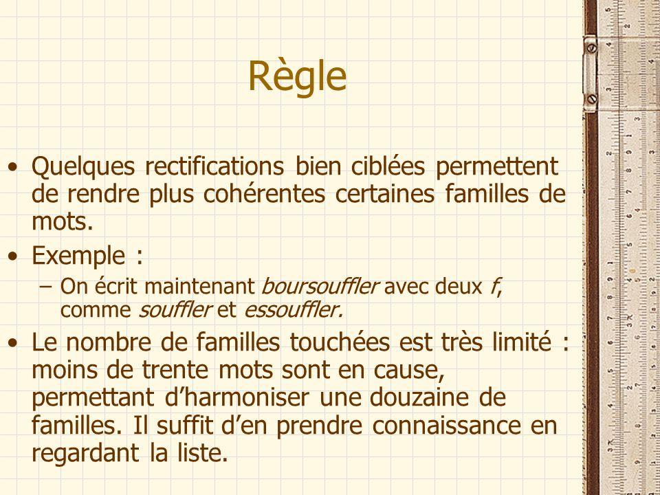Règle Quelques rectifications bien ciblées permettent de rendre plus cohérentes certaines familles de mots.