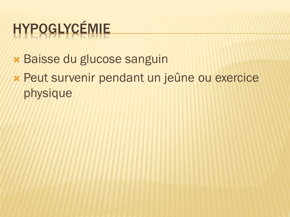 hypoglycémie Baisse du glucose sanguin