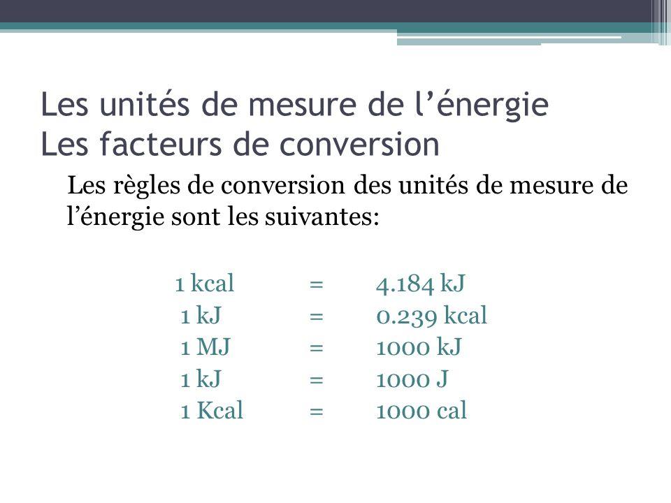 Les unités de mesure de l'énergie Les facteurs de conversion