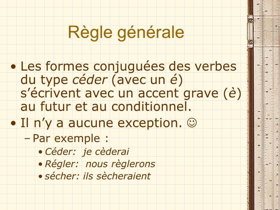 Règle générale Les formes conjuguées des verbes du type céder (avec un é) s'écrivent avec un accent grave (è) au futur et au conditionnel.