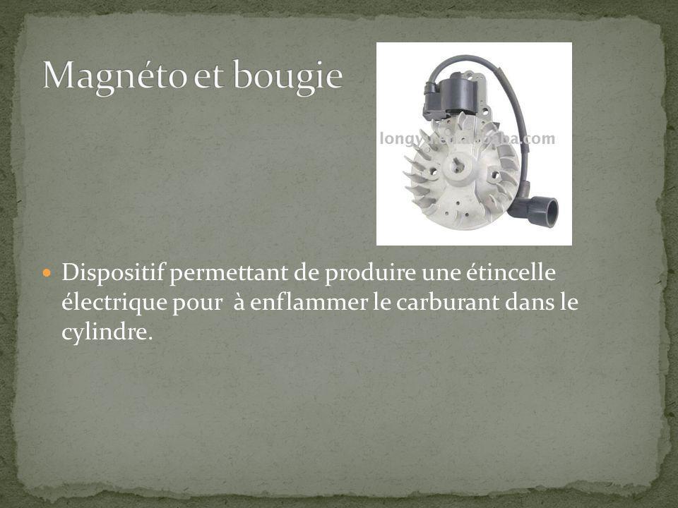 Magnéto et bougie Dispositif permettant de produire une étincelle électrique pour à enflammer le carburant dans le cylindre.