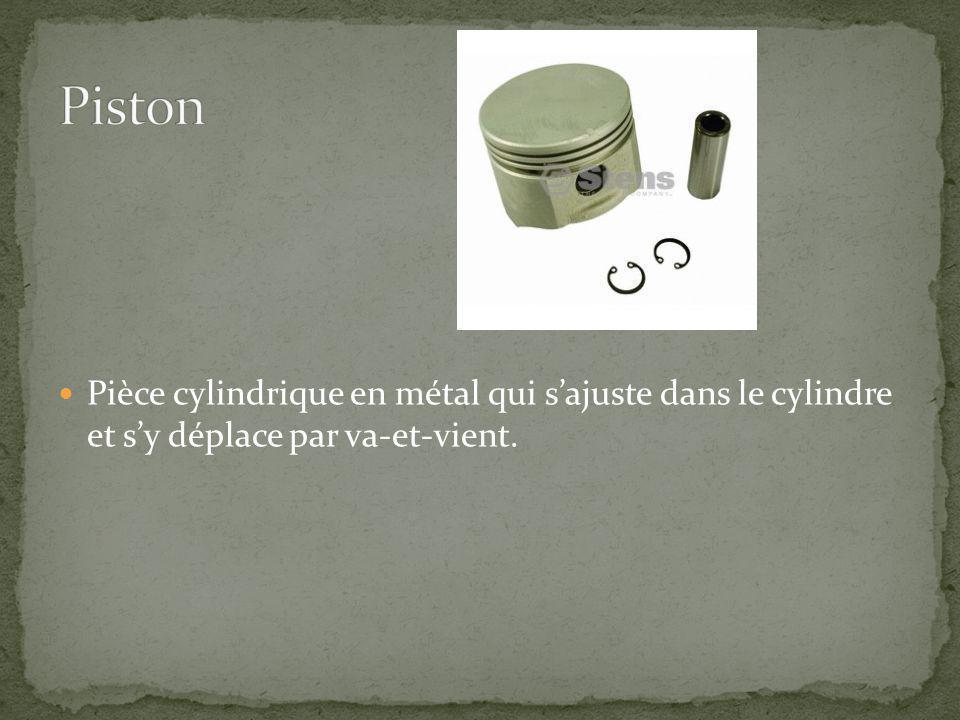 Piston Pièce cylindrique en métal qui s'ajuste dans le cylindre et s'y déplace par va-et-vient.