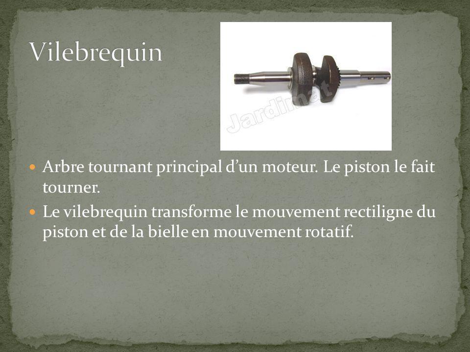 Vilebrequin Arbre tournant principal d'un moteur. Le piston le fait tourner.