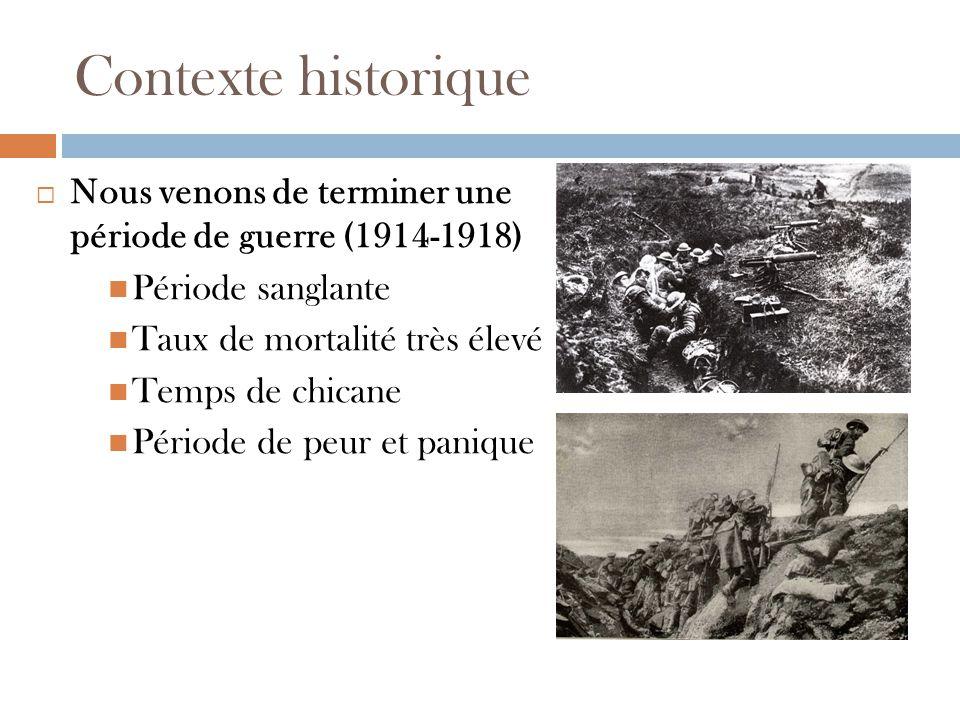 Contexte historique Nous venons de terminer une période de guerre (1914-1918) Période sanglante. Taux de mortalité très élevé.