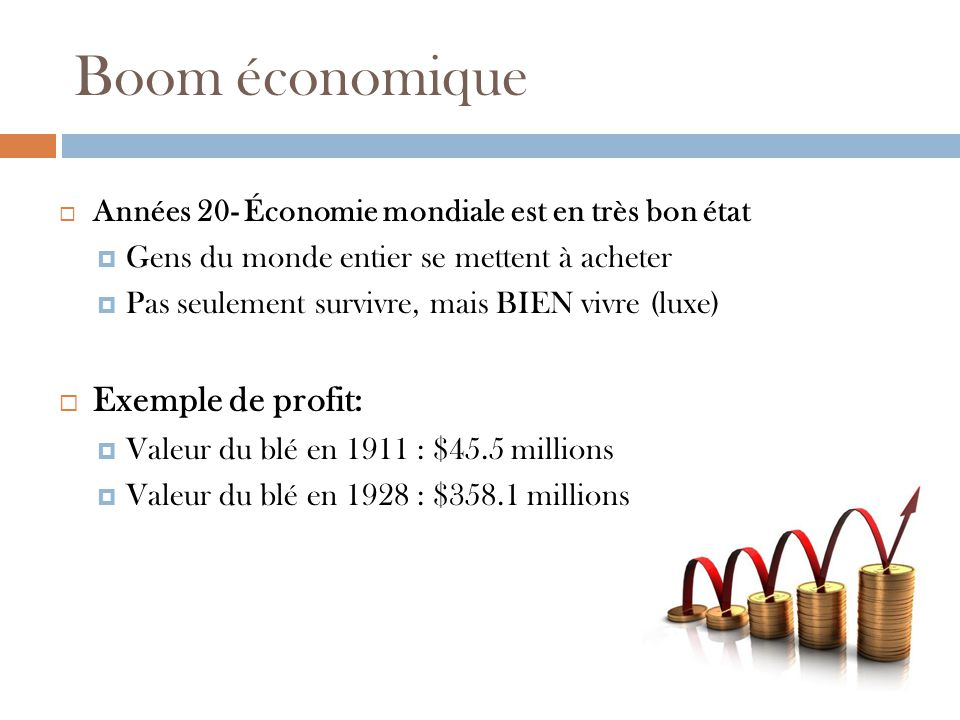 Boom économique Exemple de profit: