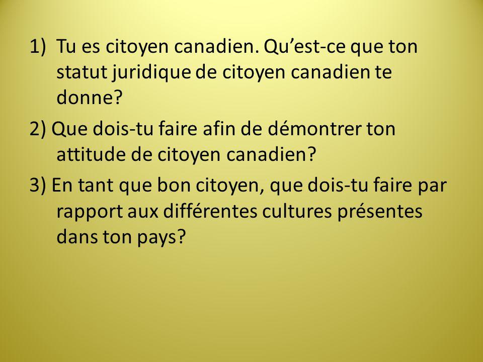 Tu es citoyen canadien. Qu'est-ce que ton statut juridique de citoyen canadien te donne
